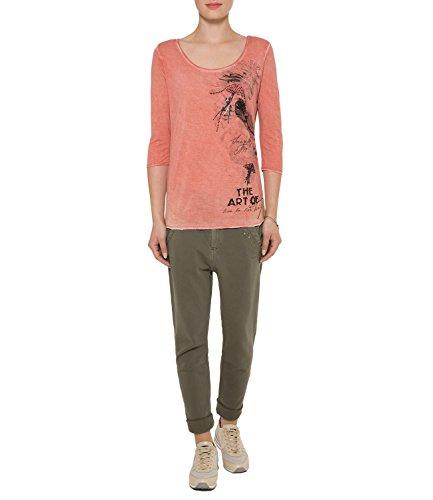 SOCCX Gefärbtes Shirt mit Artwork Washed Coral XL (Pigment-gefärbtes Aus T-shirt)