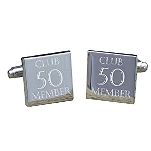 """50th Birthday Cufflinks - Square cufflinks with """"Club 50 Member"""" engraved on each link, perfect for a 50th Birthday present"""