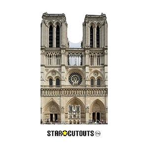 Star Cutouts SC1358 - Figura decorativa de la catedral francesa de Notre Dame (173 cm de alto, 103 cm de ancho, incluye soporte de cartón para escritorio), multicolor