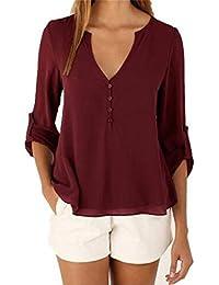 53aeec58770a7 Chemise Femme Chemisier Mousseline de Soie Button Up T-Shirt Solide Tunique  Femme Chic Manches Longues Lâche Tops Blouse Casual Pull Haut…