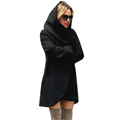 Trenchcoat Damen,Dasongff Mode Frauen Schlank Lang Elegant Wollmantel Lose Mantel Windbreaker Jacke Strickjacke Mantel Windjacke Mit Tasche und Kapuze (Schwarz, M)