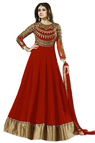 Janasya Women\'s Georgette Semi Stitched Dress Material (HS-DR-007-RED.B_Red)