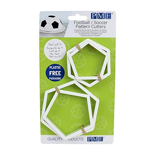 PME FB49 Football/Soccer Pattern Cutters Ausstechformen, Fußball geeignet, ABS KUNSTSTOFF, weiß
