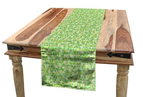 (ABAKUHAUS Lime Green Tischläufer, Dreiecke Pyramiden, Esszimmer Küche Rechteckiger Dekorativer Tischläufer, 40 x 300 cm, Bleich und Farn-Grün)
