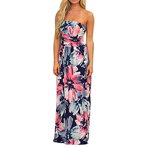 DOLDOA Frauen off Schulter lang Kleid Sommer Blumen Maxi Kleid (Größe: M Fehlschlag: 78-88cm / 30.7-34.6