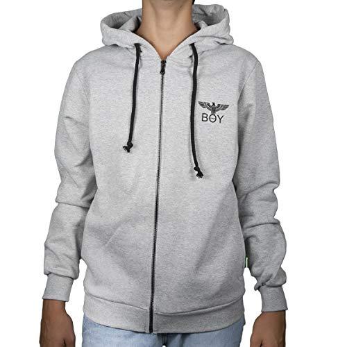 l'atteggiamento migliore f21bd 04bcf Boy London Felpa Uomo Grigio Melange Stampa Logo Aquila con Zip e Cappuccio  BLU5003