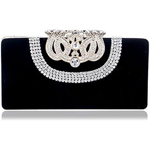 Pendientes en forma de corazón elegante bolso de cuero tachonado de banquetes de estilo occidental tarde bolsa bolso de hombro un sólido de color negro,paquetes de teléfono