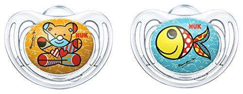 NUK 10176150 Romero Britto Freestyle Silikon-Schnuller mit Ring, kiefergerechte, 6-18 Monate, BPA, 2 Stück, Farbe nicht wählbar, mehrfarbig