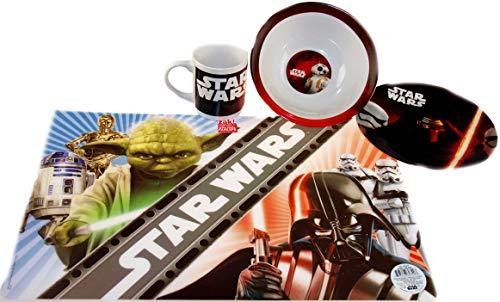 Bwg star wars - set da colazione con ciotola, piatto e tazza in ceramica, con tovaglietta