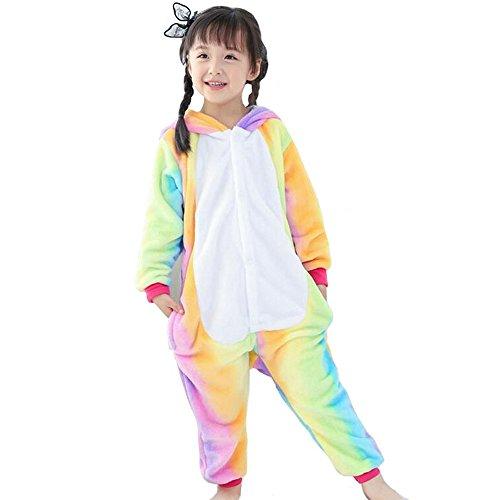 Imagen de pijama unicornio pijama animal invierno entero de franela unisex pijama mono animal disfraz navidad para niños niñas xxl longitud 125cm para 138 148cm , arco iris 2