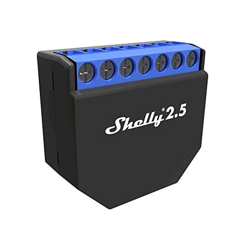 Shelly 2.5PM WLAN-Relais Schalter für die Steuerung von zwei elektrischen Schaltkreisen bis zu 2,3 kW, kompatibel mit Amazon Echo und Google Home -