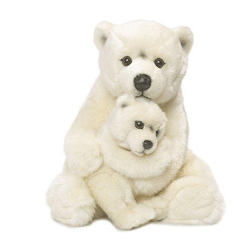 WWF 15187007 - Peluche, Mamma Orso Polare con Cucciolo, 28 cm