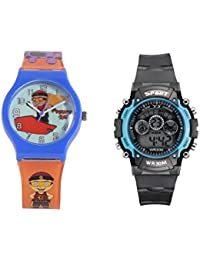 Fantasy World Blue Watch And Sport Watch Combo For Boys And Girls - B0789L3W4V