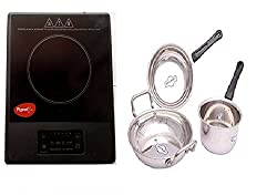 Pigeon Amber Induction Cooktop 1500 W (Black)+ 5 Pcs Stainless Steel cookware Set