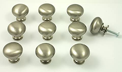 10 x Brushed Nickel Kitchen or Cupboard Knobs. Stainless Steel Shaker Style