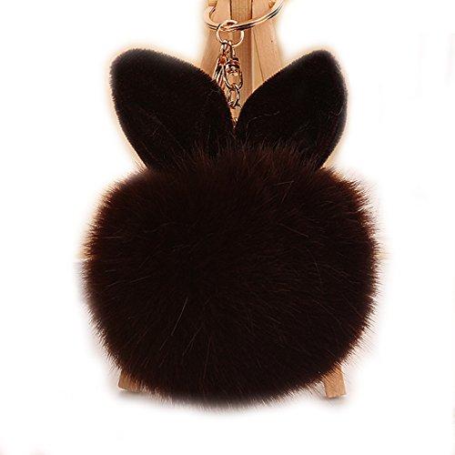 URSFUR Schlüsselanhänger aus Kunstfell Kaninchen Fellbommel Bommel Geburtstagsgeschenk Taschenanhänger (Kaffee ) (Handy-charme-pelz-ball)