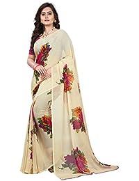 Jaanvi Fashion Women's Floral Chiffon Printed Saree (Floral-chiffon-pink_Beige)