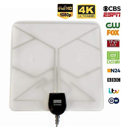 August DTA430 - DVBT/DVB-T2 Fernseher-Antenne - Mobile und feststehende Antenne für digitales Fernsehen/DVB-T/Digital TV/DAB - Mit Klebepad, Saugnapf und Schraubfixierung