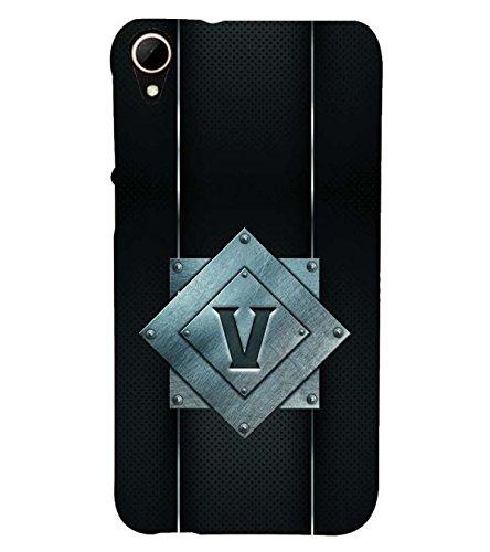 YuBingo HTC Desire 828 Dual Sim Designer Phone Back Case Cover ( Vibrant Letter V (Metal Finish Plastic) )