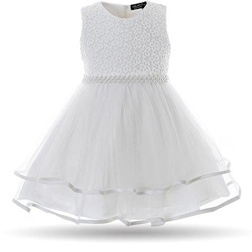 CIELARKO Baby Mädchen Kleid Blumen Spitze Tüll Taufkleid Kinder Hochzeits Festlich Kleider (0-3 Monate, Weiß)