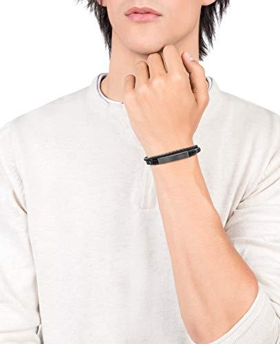 Imagen de viceroy pulsera de hombre heat de piel trenzada doble en negro y gris con una placa de acero ip negro alternativa