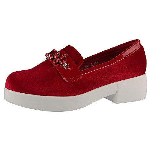 ByPublicDemand Ebony Femme à Semelles Compensées Les chaussures plates Rouge