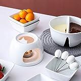 MALACASA, Serie Favor, 14-teilig Porzellan Schokofondue Set Fondueset Schokolade Fondue Topf mit 6 Fondueteller 6 Fonduegabeln für 6 Personen - 8