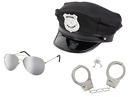 tüm Cop Kostüm Accessoires - Polizeihut Schwarz mit Sonnenbrille silber verspiegelt und Chrom Handschellen ()