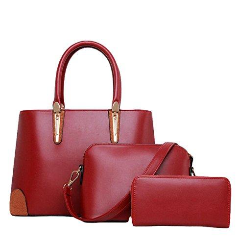 Ladies Tre Confezioni Di Borse Della Madre Borsa Messenger Portafoglio Moda Semplice Selvatico Red