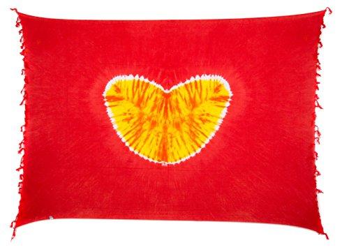 Sarong Pareo Wickelrock Strandtuch Tuch Wickeltuch Handtuch Bunte Sommer Muster Set Gratis Schnalle Schließe (Herz Rot Orange NTD127)