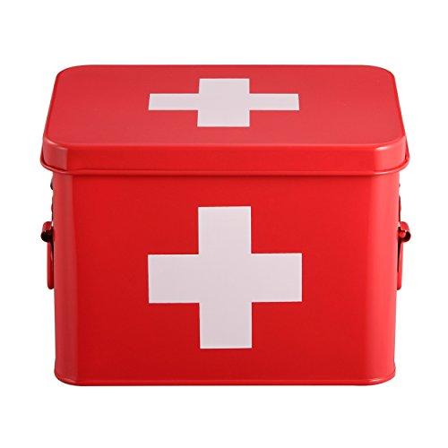 Mari Home Medizinkasten aus Zinn, zweilagig, mit 4 Unterteilungen, rot, ohne Erste-Hilfe-Zubehör - 22,5 x 16,5 x 16 cm