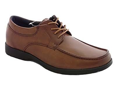 Chaussures homme, de travail, d'uniformes habillées, de mariage - 3 Modèle: Avec Lacets, Sans Lacets, Avec Pampille - Noir et Brun (EU 46 UK 11, Brun avec Lacets)