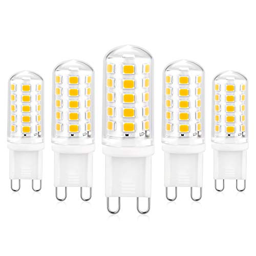 Bombilla LED G9 Regulable, Pack de 5 Blanco Cálido 3000K 550 Lúmenes 5W Lámpara LED G9, 50W Bombilla Halógena Equivalente, Sin parpadeo, Haz de 360 ° Lámpara de Ahorro de Energía