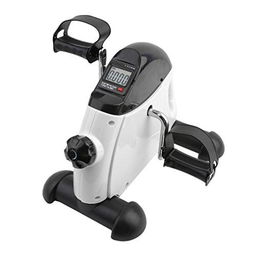 OUTAD Mini-Bike Heimtrainer Arm und Beintrainer Pedaltrainer Bewegungstrainer mit Trainingscomputer für Erwachsene und Senioren (Weiß)