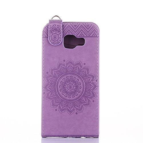 Samsung Galaxy A3 2016 Hülle Leder Tasche Flip Cover Galaxy A3 2016 Wallet Case Alfort Stilvoll Handycover Braun Mandala Blumen Muster PU Ledercase Brieftasche Handyhülle für Samsung Galaxy A3 ( 2016  Lavendel