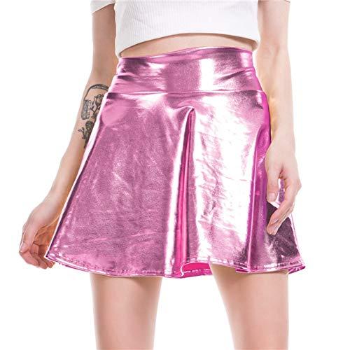 HEHEAB Rock,Von Pink Frauen Glänzende Mini Rock Metallic Nass Liquid Faux Leder Look Ausgestelltem Plissee A-Line Kreis Solide Skater Röcke, S -