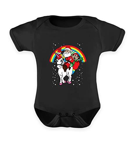 Einhorn Santa und Elf T-Shirt Unicorn Weihnachten 2018 Xmas Kostüm Geschenk Geschenkidee - Baby Body -6-12 Monate-Schwarz