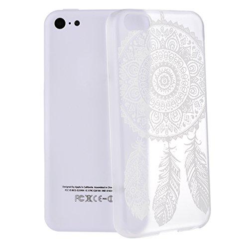 GrandEver Relief Case Phone Holster für Apple iPhone 5C Handy-Tasche Blume Pattern Bild Hard Case Handy Hülle Transparent Schutzhülle für iphone 5C (Elefant) Campanula und Feder
