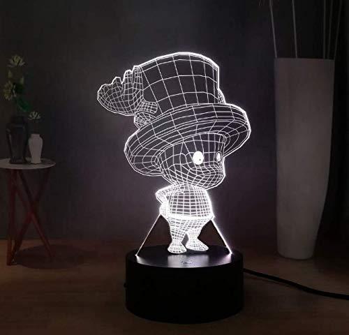 Japanische Comic 3D Illusion Lampe One Piece\'S Chopper Usb-Schalter Led Nachtlicht Nettes Mädchen Zimmer