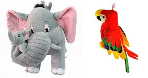 Flower Engine Mother Elephant with 2 Babies Soft Toy - 38 cm and Musical Parrot (25 cm) Combo