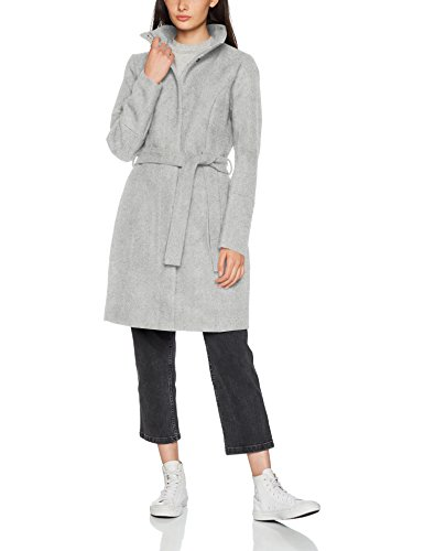 Vila CLOTHES Damen Mantel Vibee Wool Coat-Noos, Grau (Light Grey Melange Light Grey Melange), 38 (Herstellergröße: M)