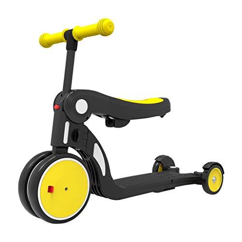 Dreiräder Trike Five-in-One-Kinder-Dreiräder Leichte Fahrräder 1-5 Jahre Alte Kinder Roller Baby-Roller Verschiedene Anpassungen Kinderspielzeug Jungen Und Mädchen Gelb Blau (Color : Yellow)