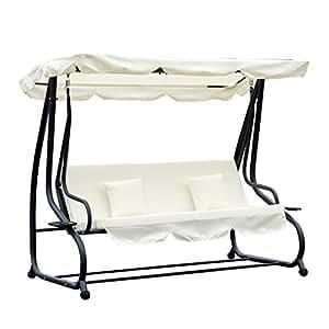 outsunny hollywoodschaukel gartenschaukel 3 sitzer liegefunktion stahl beige. Black Bedroom Furniture Sets. Home Design Ideas