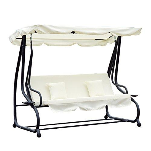 Hollywoodschaukel Gartenschaukel 3-Sitzer Liegefunktion Stahl 2 Farben 200x120x164cm