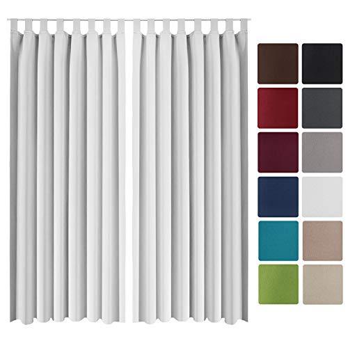 Beautissu 2er Set Gardine Blackout-Vorhang Amelie Schlaufen 140x245 cm blickdichter Schlaufenschal - Verdunklungsgardine Schlaufenaufhängung Weiß