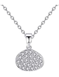 982d542b831d Onefeart Blanco Oro Plateado Colgante Collar para Mujeres Niñas Redondo  Zirconia Señoras Estilo Elegancia Colgante Embalaje