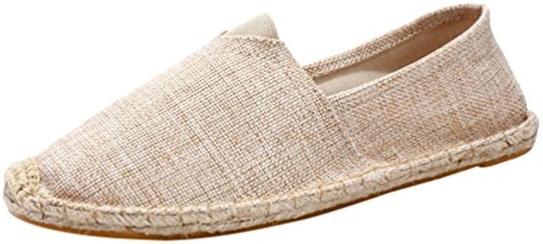 Lvguang Hombres Retro Lona Ponerse Zapatos Casual Conducción Mocasín Pisos Unisex Sneaker Mocasines  -