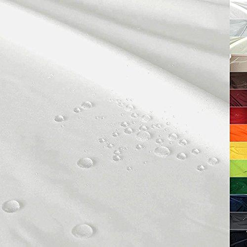 TOLKO Sonnenschutz Nylon Planen-Stoff Meterware - 180 cm Breit, Wasserdicht, Reißfest und Blickdicht als Universal Outdoorstoff zum Nähen (Creme-Weiß) -