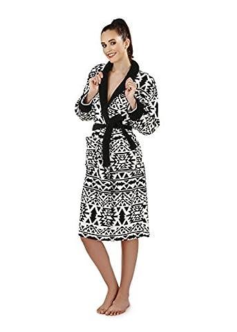 loungeable de luxe pour femmes polaire super doux Robe - SCHWARZ UND WEIB aztekisch, 48-50