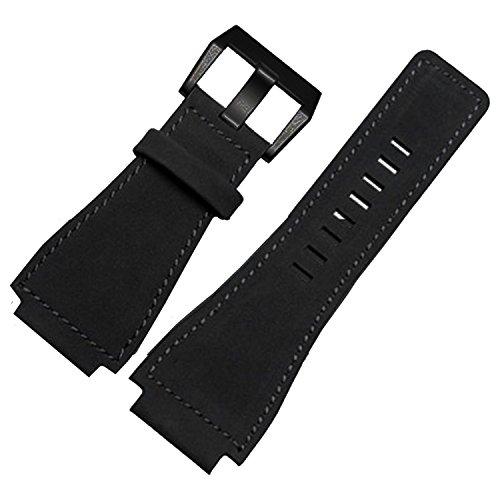 TIME4BEST Herren 24mm schwarz Leder Uhrenarmband Schwarz Schnalle kompatibel mit Bell & Ross